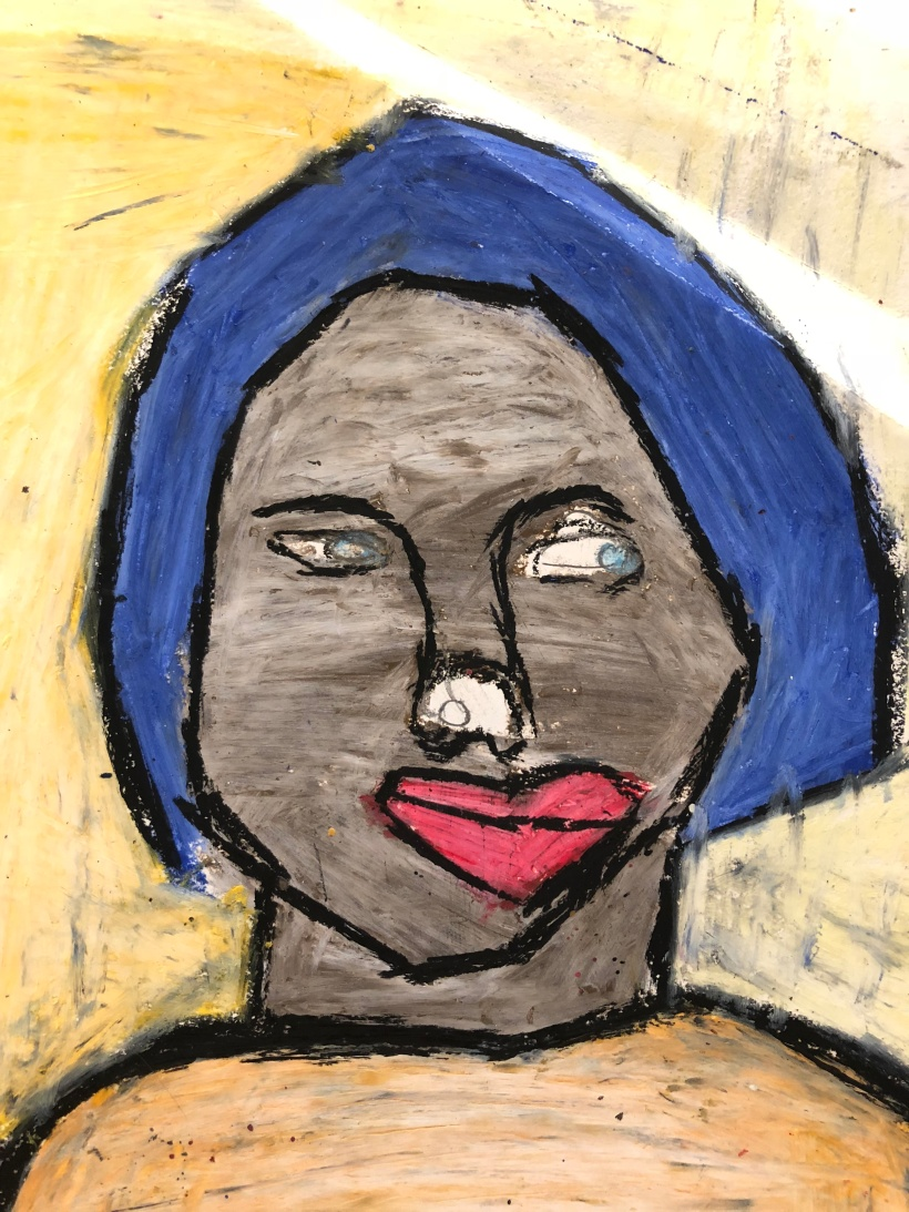 lady with a gray face and blue hair